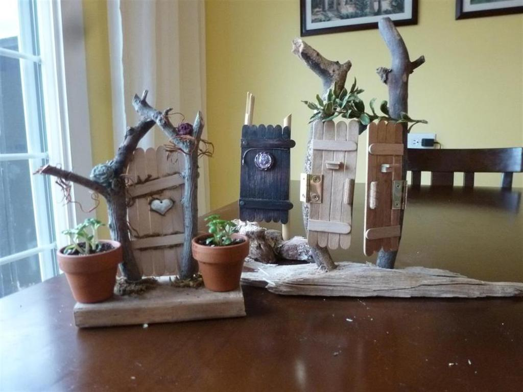 three finished fairy garden doors