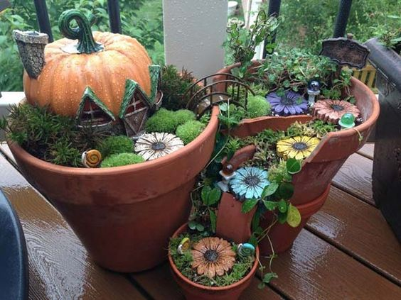 broken pot fairy garden pinterest 6