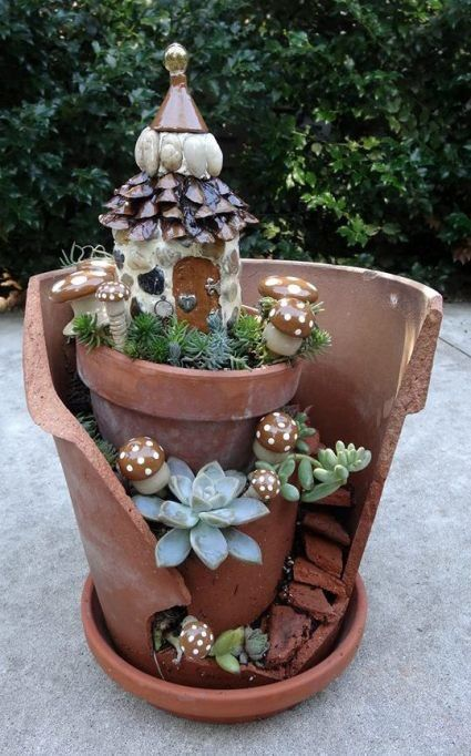 broken pot fairy garden pinterest 7