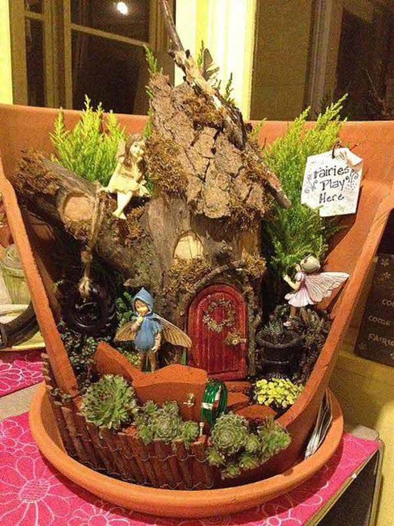 broken pot fairy garden pinterest 8
