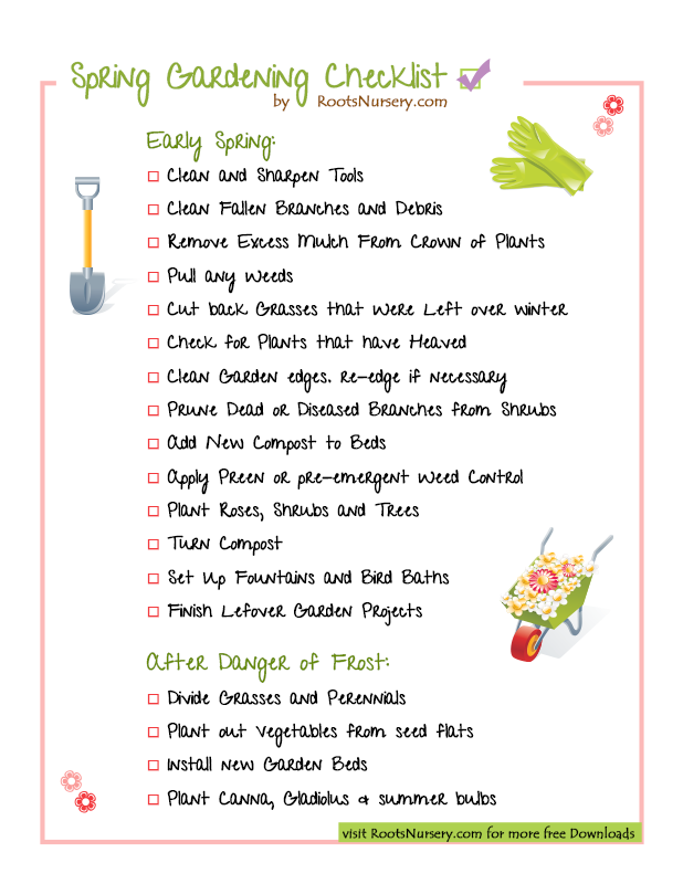 Spring gardening checklist roots nursery for Gardening tools list pdf