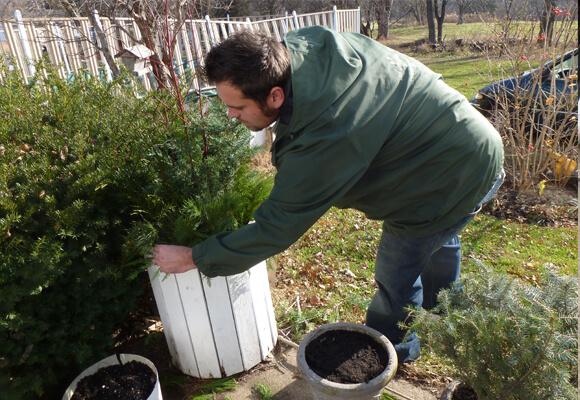 Jon Making a Winter Planter